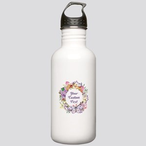Custom Text Floral Wreath Water Bottle
