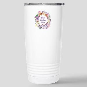 Custom Text Floral Wreath Travel Mug
