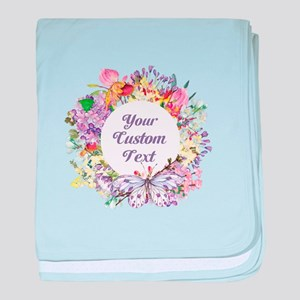 Custom Text Floral Wreath baby blanket