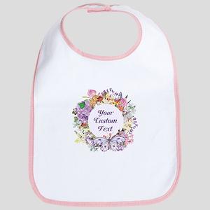 Custom Text Floral Wreath Baby Bib