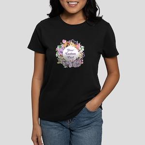 Custom Text Floral Wreath T-Shirt