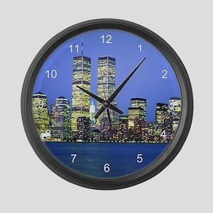 New York City at Night Large Wall Clock
