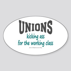Unions Kicking Ass Oval Sticker