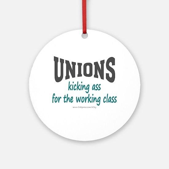 Unions Kicking Ass Ornament (Round)