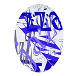 Jazz Blue Oval Ornament