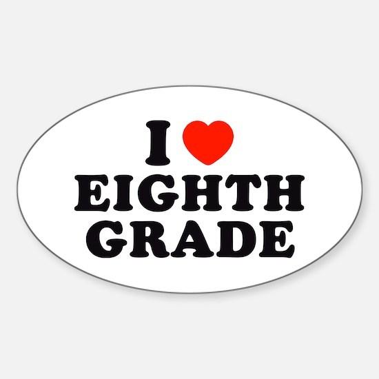 I Heart/Love Eighth Grade Oval Decal