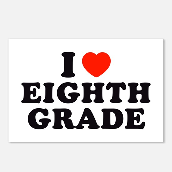 I Heart/Love Eighth Grade Postcards (Package of 8)