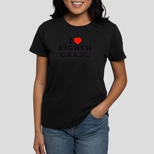 I Heart/Love Eighth Grade Women's Dark T-Shirt