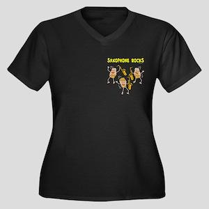 Saxophone Rocks Women's Plus Size V-Neck Dark T-Sh