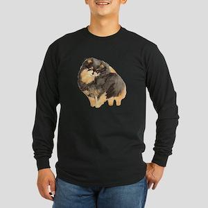 Blk. & Tan Pomeranian Fullbod Long Sleeve Dark T-S