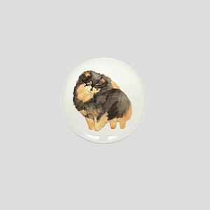 Blk. & Tan Pomeranian Fullbod Mini Button