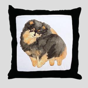 Blk. & Tan Pomeranian Fullbod Throw Pillow