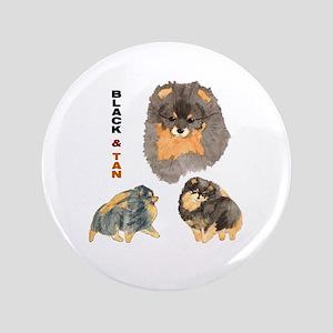 """Blk.& Tan Pomeranian Collage 3.5"""" Button"""