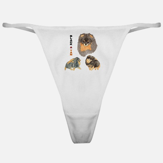 Blk.& Tan Pomeranian Collage Classic Thong