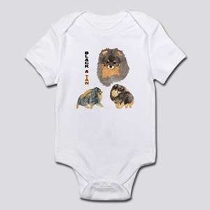 Blk.& Tan Pomeranian Collage Infant Bodysuit