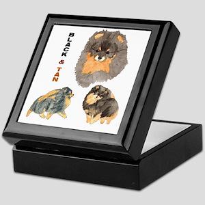 Blk.& Tan Pomeranian Collage Keepsake Box