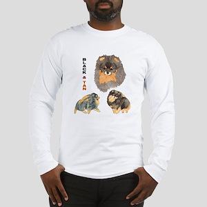 Blk.& Tan Pomeranian Collage Long Sleeve T-Shirt