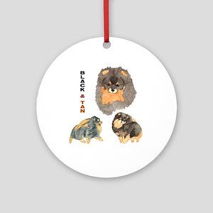 Blk.& Tan Pomeranian Collage Ornament (Round)