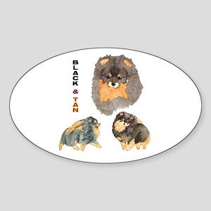 Blk.& Tan Pomeranian Collage Oval Sticker