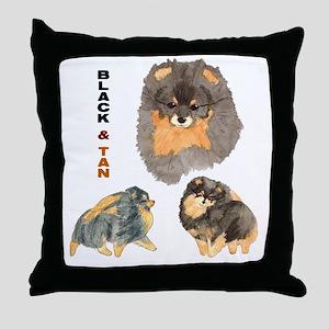 Blk.& Tan Pomeranian Collage Throw Pillow