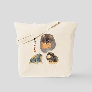 Blk.& Tan Pomeranian Collage Tote Bag