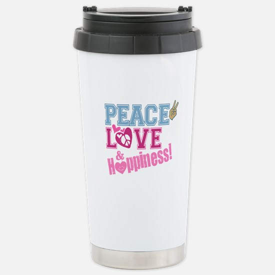 Peace Love and Happiness Stainless Steel Travel Mu