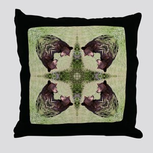 Black Bear Mandala Throw Pillow