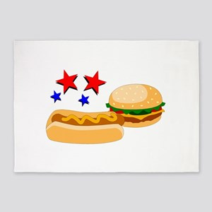 American Hot Dog and Burger 5'x7'Area Rug