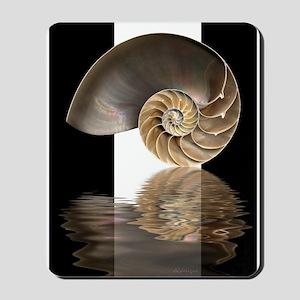 Nautilus Shell (B&W) Mousepad