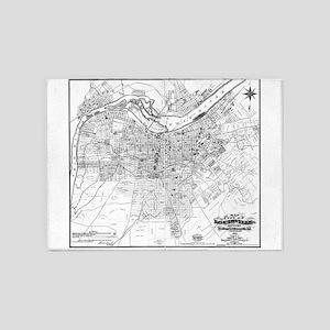 Vintage Map of Louisville Kentucky 5'x7'Area Rug