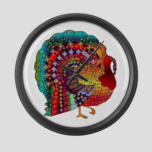Thanksgiving Jeweled Turkey Large Wall Clock