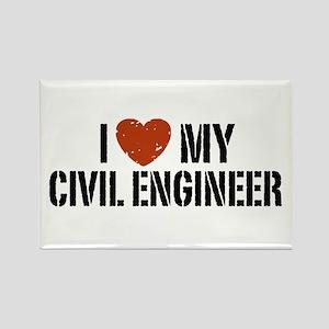 I Love My Civil Engineer Rectangle Magnet