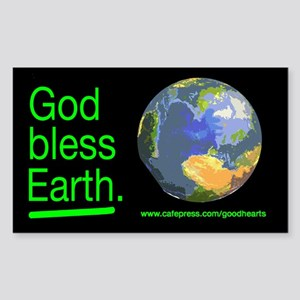 God Bless Earth Rectangle Sticker