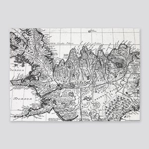 Vintage Map of Iceland (1761) BW 5'x7'Area Rug