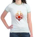 Flaming Skull Tattoo Jr. Ringer T-Shirt