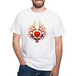 Flaming Skull Tattoo White T-Shirt