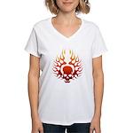 Flaming Skull Tattoo Women's V-Neck T-Shirt