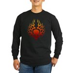 Flaming Skull Tattoo Long Sleeve Dark T-Shirt