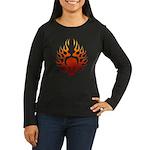 Flaming Skull Tattoo Women's Long Sleeve Dark T-Sh
