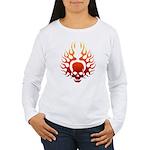 Flaming Skull Tattoo Women's Long Sleeve T-Shirt