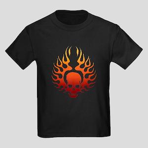 Flaming Skull Tattoo Kids Dark T-Shirt