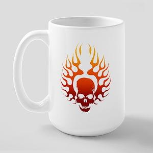 Flaming Skull Tattoo Large Mug