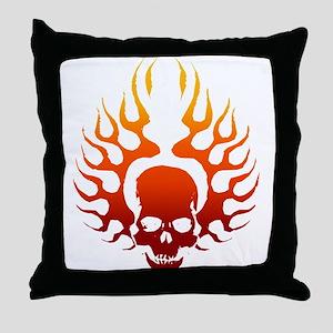 Flaming Skull Tattoo Throw Pillow