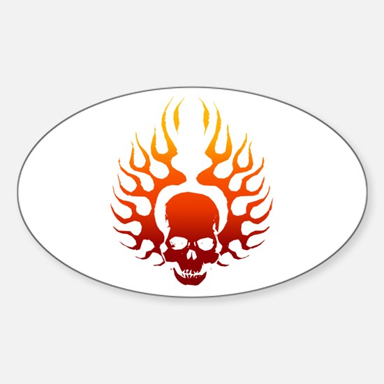 Flaming Skull Tattoo Oval Decal