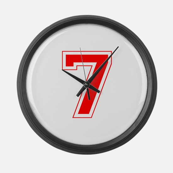 Varsity Font Number 7 Red Large Wall Clock
