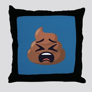 Upset Poop Emoji Throw Pillow