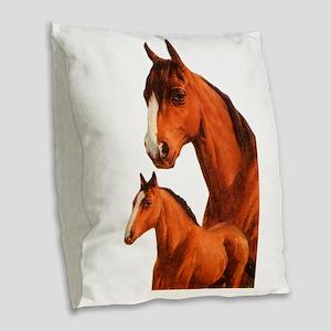Two Horses Burlap Throw Pillow
