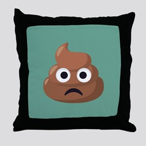 Frowning Poop Emoji Throw Pillow