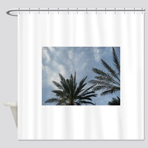 palm trees at low angle Shower Curtain