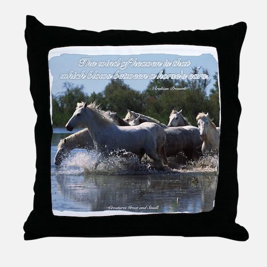 Horses w/ Proverb Throw Pillow